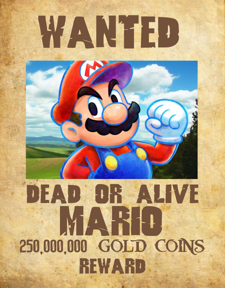 mario wanted poster